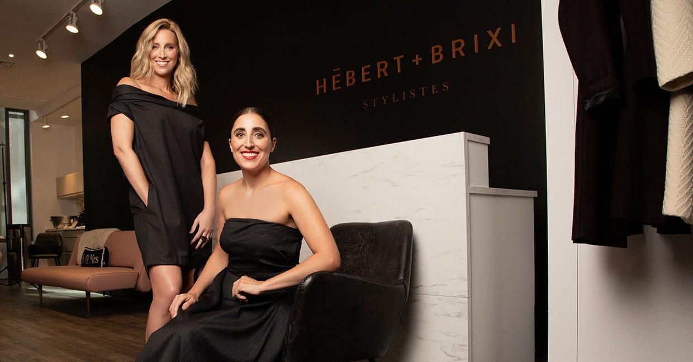 Portrait de Ryma Brixi et Catherine Hébert en tenue de soirée noir dans leur boutique